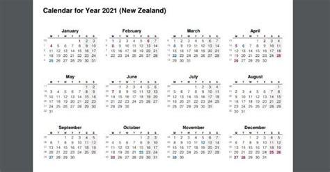 full year calendar   zealand holidays  calendar