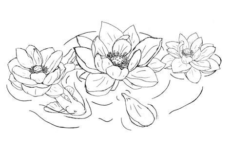 tattoo lotus outline black ink koi fish with lotus tattoo design