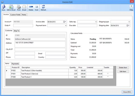 uniform invoice software net download