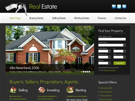 pages templates for real estate real estate free website template free css templates