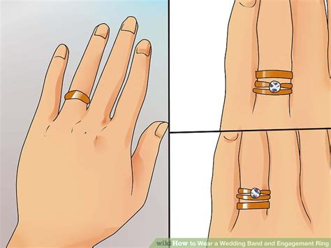 ways  wear  wedding band  engagement ring wikihow