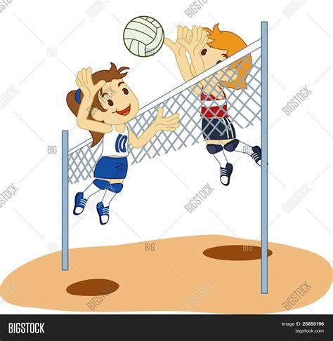 dibujos de niños jugando voleibol kids playing volleyball vector photo bigstock
