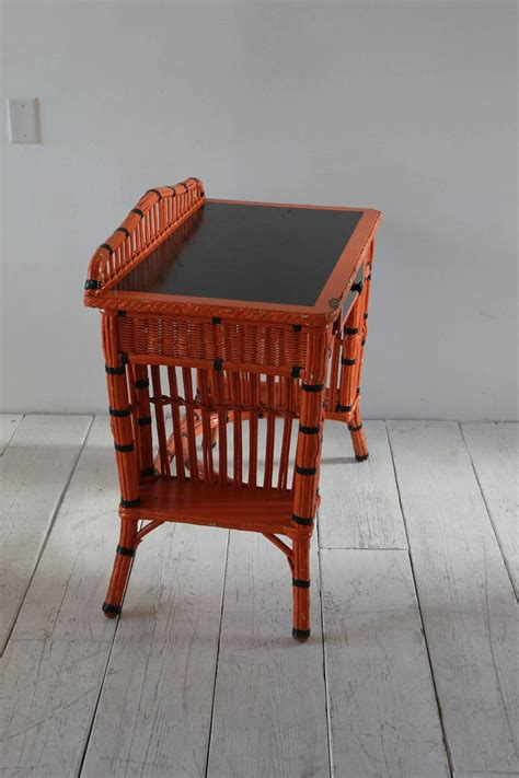 Wicker Vanity Set Orange And Black Painted Wicker Vanity Set For Sale At 1stdibs