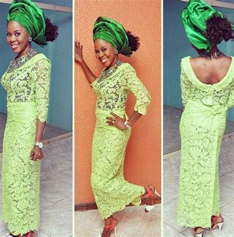 latest ashoebi lace styles beautiful aso ebi styles cord lace paired with green gele