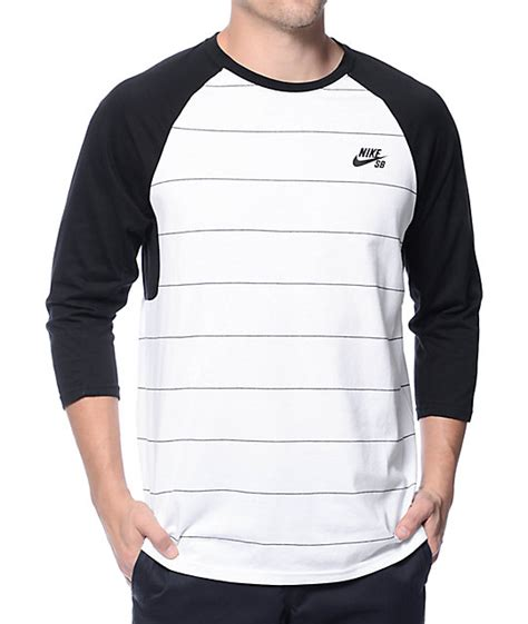 T Shirt Baseball Nike White nike sb dri fit stripe white black baseball t shirt