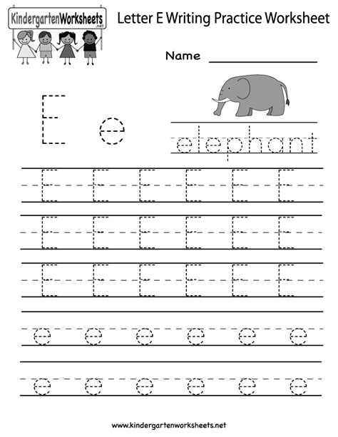 kindergarten up letter kindergarten letter e writing practice worksheet printable
