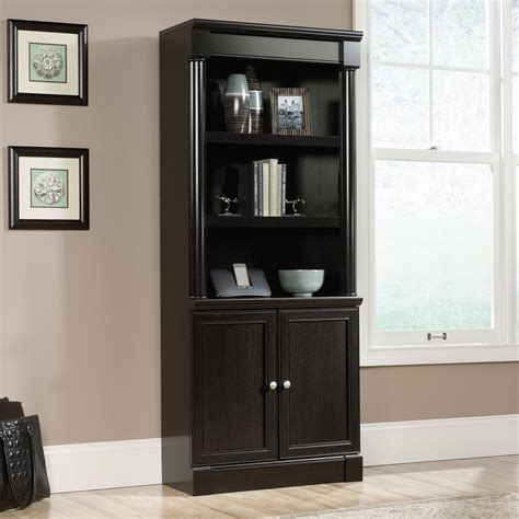sauder bookcase with glass doors sauder avenue eight library bookcase with doors wind oak