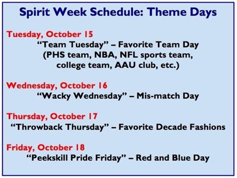 themes for college day spirit week theme days announced mercury