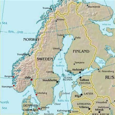 map of scandinavian countries map of scandinavia countries region map of europe