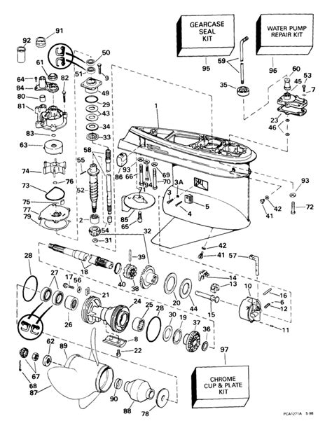 evinrude etec parts diagram johnson gearcase 90 115 px models parts for 1999 90hp