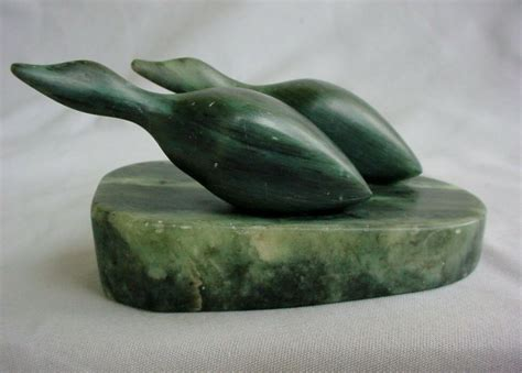 Soapstone Canada by Dennis Labbe Alberta Soapstone Carving Ducks Signed