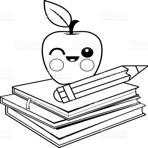 dibujo de libros y manzana para colorear dibujos net lapiz colorear images reverse search