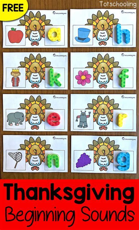 printable thanksgiving cards for kindergarten thanksgiving turkey beginning letter sounds cards