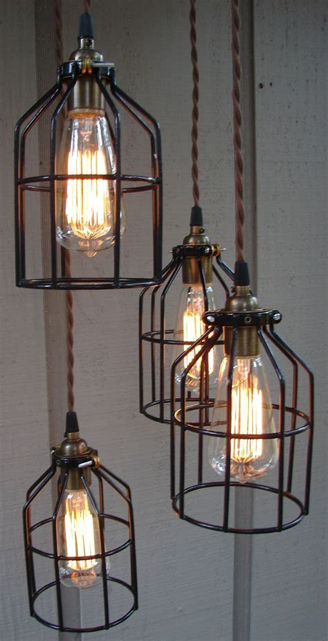 Upcycled Industrial Edison Bulb Cage Hanging Pendant Light Industrial Light Fixtures For Kitchen