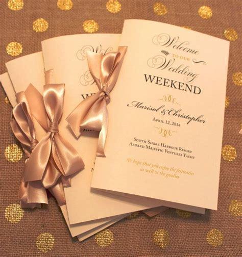 Wedding Brochure Letter by Welcome Wedding Booklets Gold Wedding Booklets Wedding