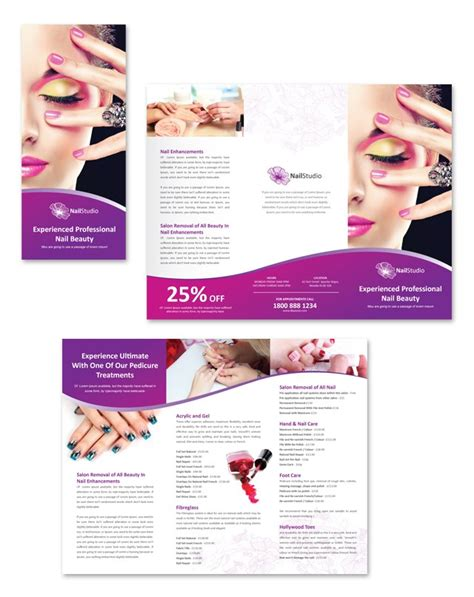Nail Beauty Salon Tri Fold Brochure Template Dlayouts Graphic Design Blog Nail Brochure Templates Free
