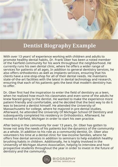 Dentist Biography Writing Sles Tips Professional Help Dentist Biography Template