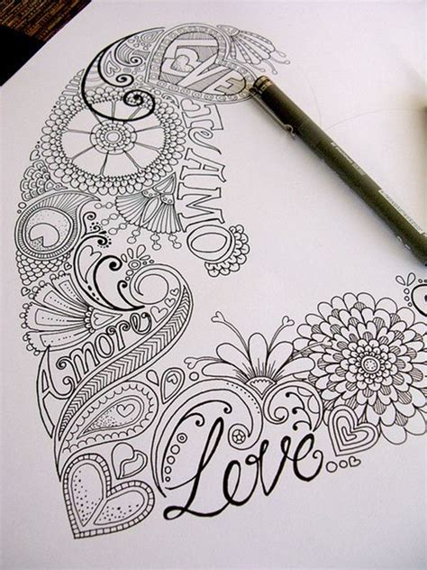 zentangle love pattern 40 beautiful doodle art ideas bored art