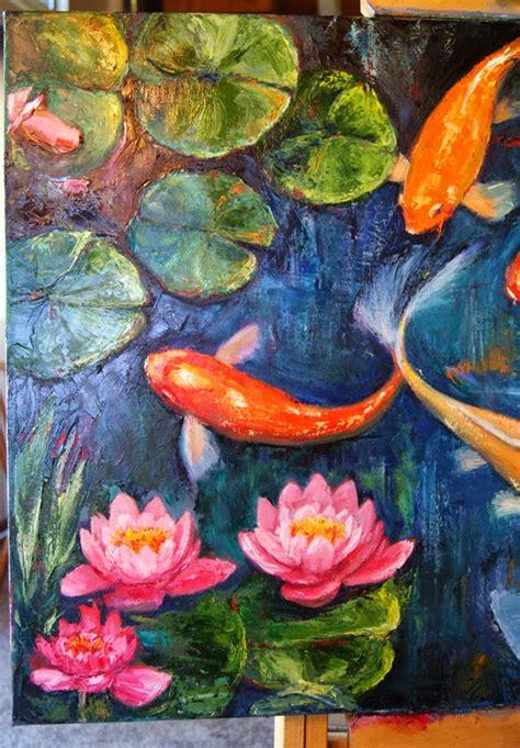 Jen Beaudet New Koi Fish And Pad Painting