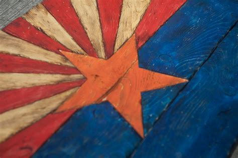 Handmade Flags - arizona flag handmade distressed painted wood vintage