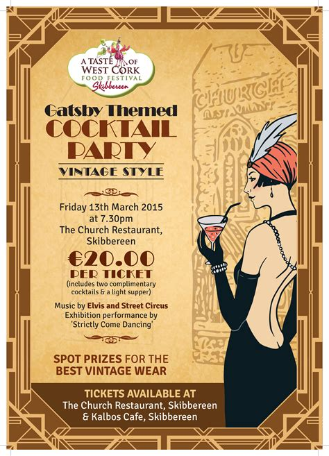 vintage cocktail party poster a taste of west cork food festival presents a great gatsby