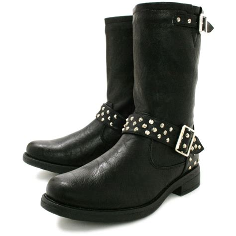 buy zion flat studded buckle biker ankle boots black