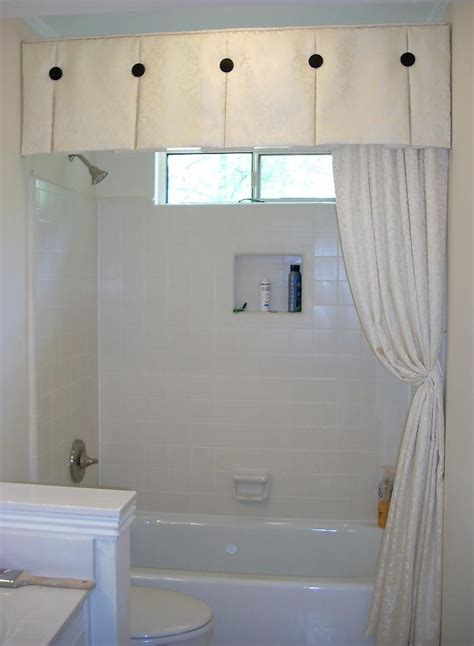 window covering for bathroom shower windowtreatments box pleat valance with black accent