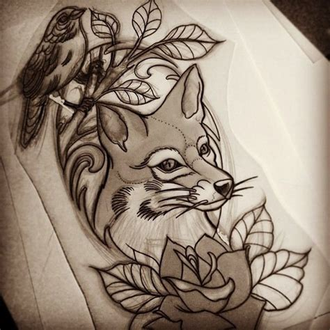new school bird tattoo designs new school fox with and bird sitting on branch