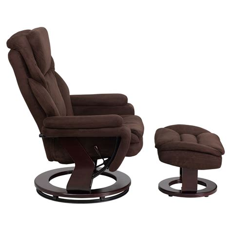 pedestal recliner and ottoman microfiber recliner and ottoman swiveling base brown