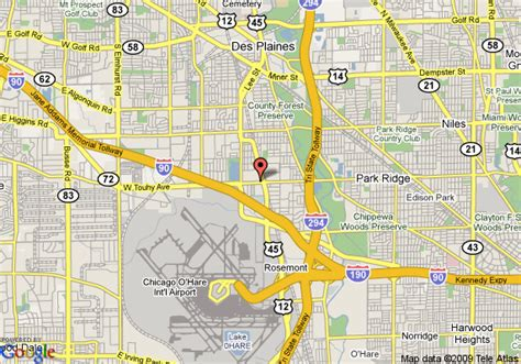 des plaines il map of radisson hotel chicago o hare des plaines
