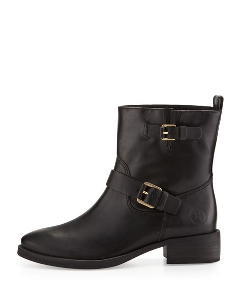 black moto boots short tory burch bennie buckled short moto boot in black lyst