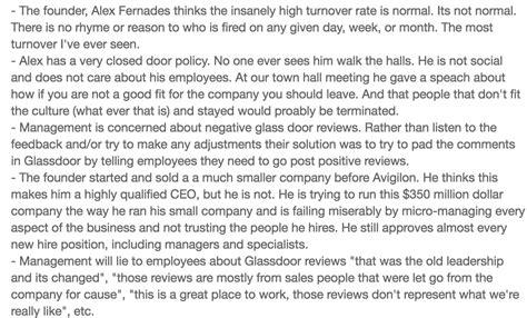 remove negative reviews from glassdoor avigilon employee reviews