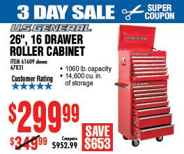 26 in 16 drawer glossy roller cabinet combo 3 day sale
