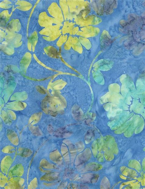 770gkp01 Kemeja Batik Green Floral blue batik lime green turquoise flower wide fabric by timeless treasures flower fabric