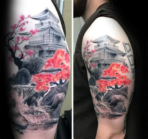 tattoo oriental paisagem 50 japanese temple tattoo designs for men buddhist ink ideas