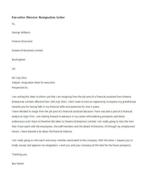 Director Resignation Letter Sle by Director Resignation Letter Template 28 Images Small Business For Dummies Book Best Photos