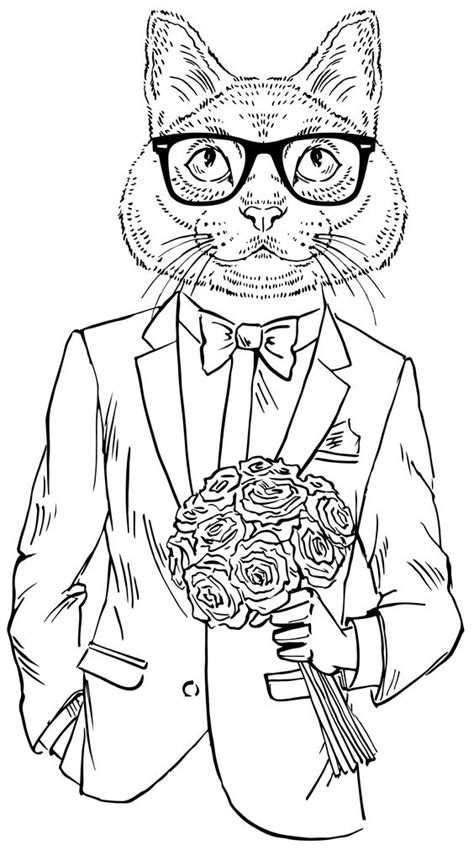 hipster elephant coloring page hipster cat date coloring therapy pinterest smooth