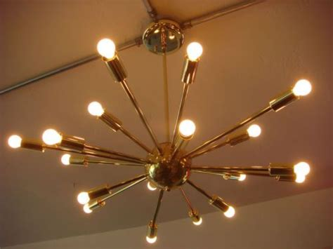 polished brass atomic sputnik starburst light fixture
