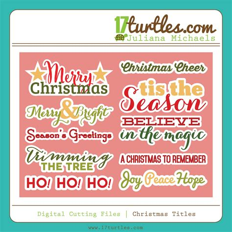 christmas  july christmas titles fonts   digital cut file turtles