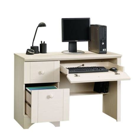 sauder computer desk with keyboard sauder harbor view collection 43 in antiqued white