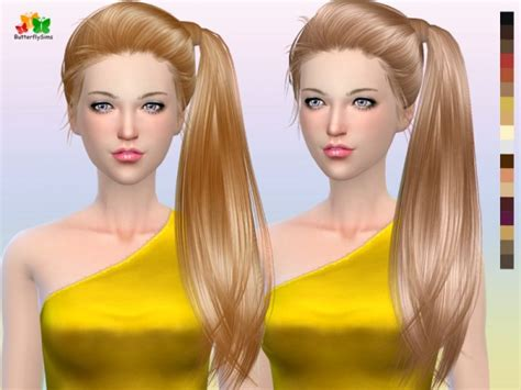 sims 4 hairs butterflysims side ponytail hair 164 sims 4 hairs butterflysims side ponytail hair 164