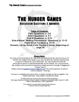 Hunger Games Discussion Questions & Answers by Tracee