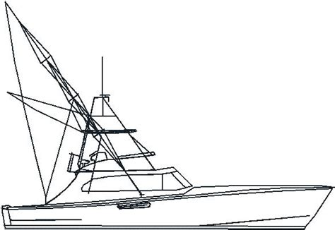 big boat outline sport fishing boat clip art