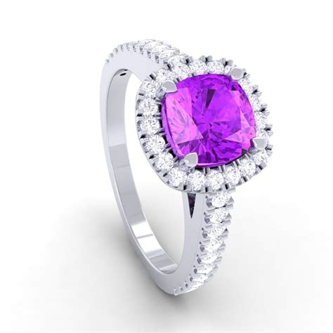 purple amethyst ij si diamonds halo gemstone engagement