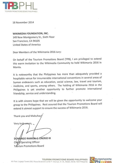 Endorsement Letter For Resolution File Wikimania Manila 2016 Endorsement Letter Tourism Promotions Board Pdf Wikimedia Commons