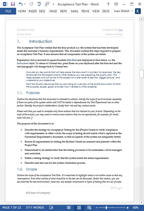 Acceptance Test Plan Template Ms Word Instant Download Microsoft Word Test Plan Template
