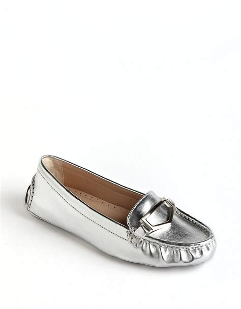 silver loafers adrienne vittadini saige leather loafers in silver lyst