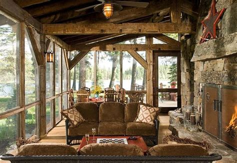 screened in porch with fireplace country roads