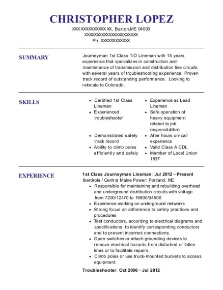 Lineman Resume by Lineman Resume Annecarolynbird