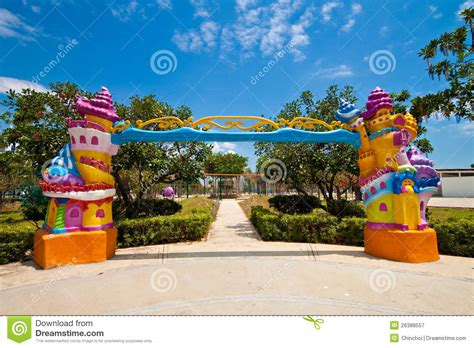 theme park for toddlers fancy entrance to a children theme park stock image